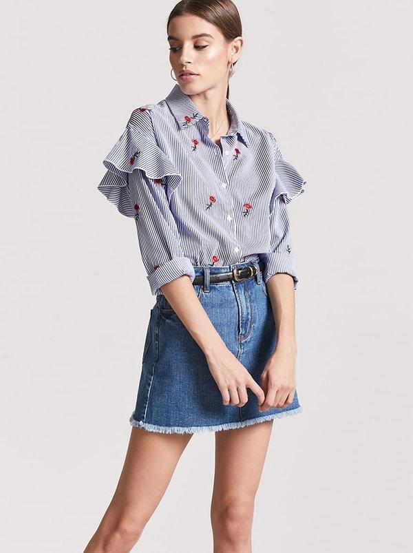 Frill Detail Shirt Blue | Forever21