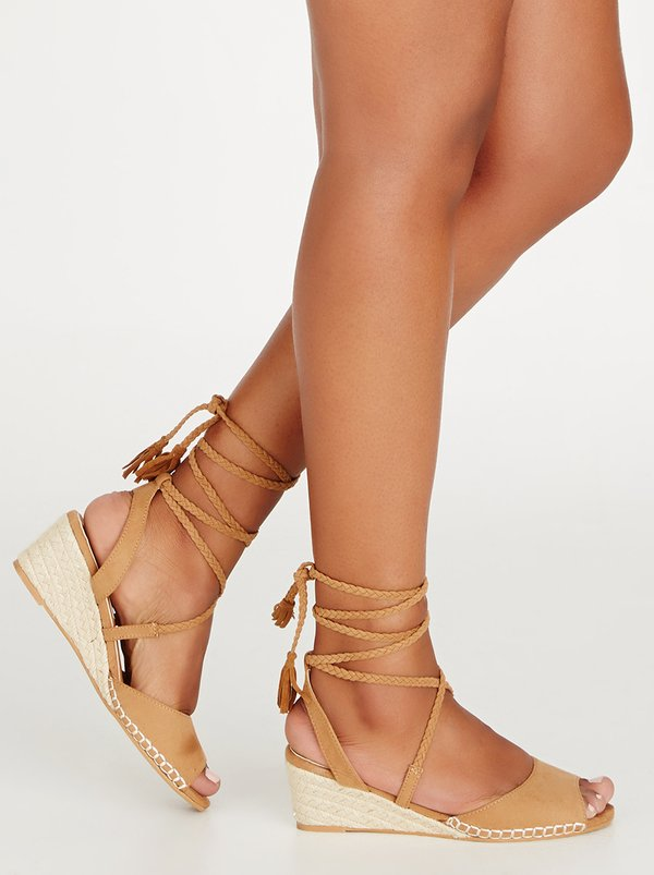Billini Alisha Lace-up Wedges Tan