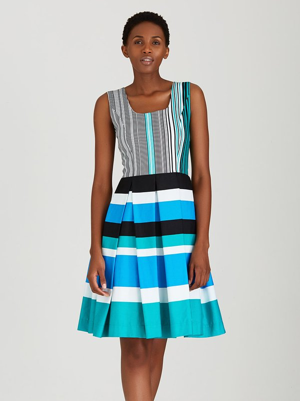 Thula Sindi Sleeveless Striped Full Skirted Dress Multi-colour