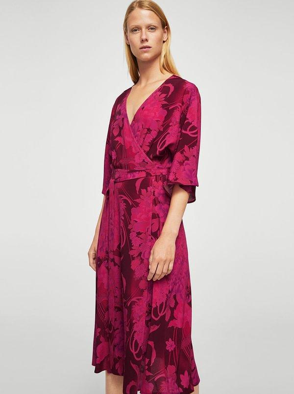 Floral Wrap Dress Red   MANGO