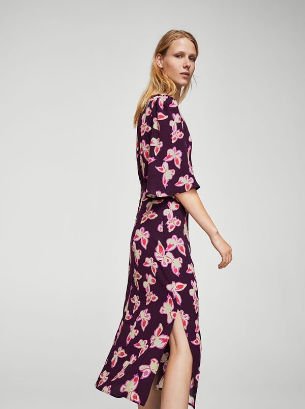 Butterfly Print Dress Mid Purple | MANGO