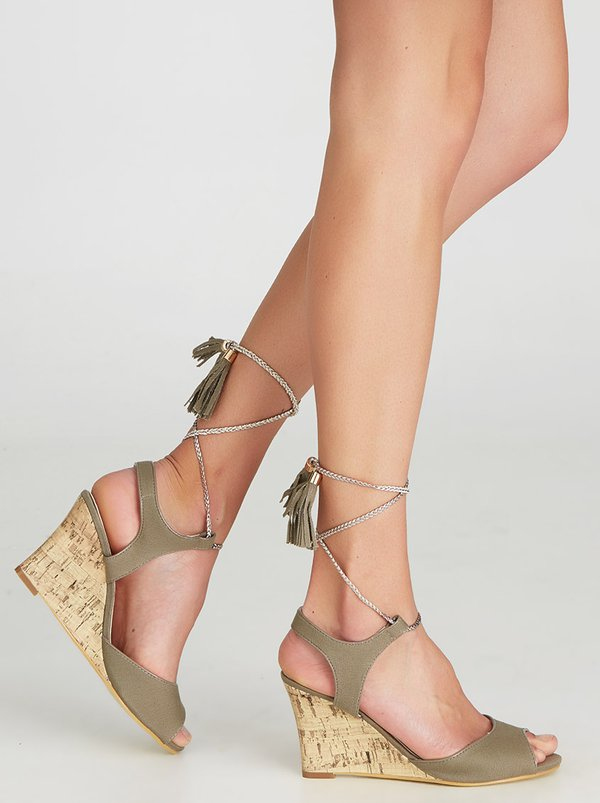 FOOTWORK Lace-up Wedges Khaki Green