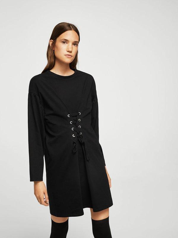 Corset Detail Dress Black   MANGO