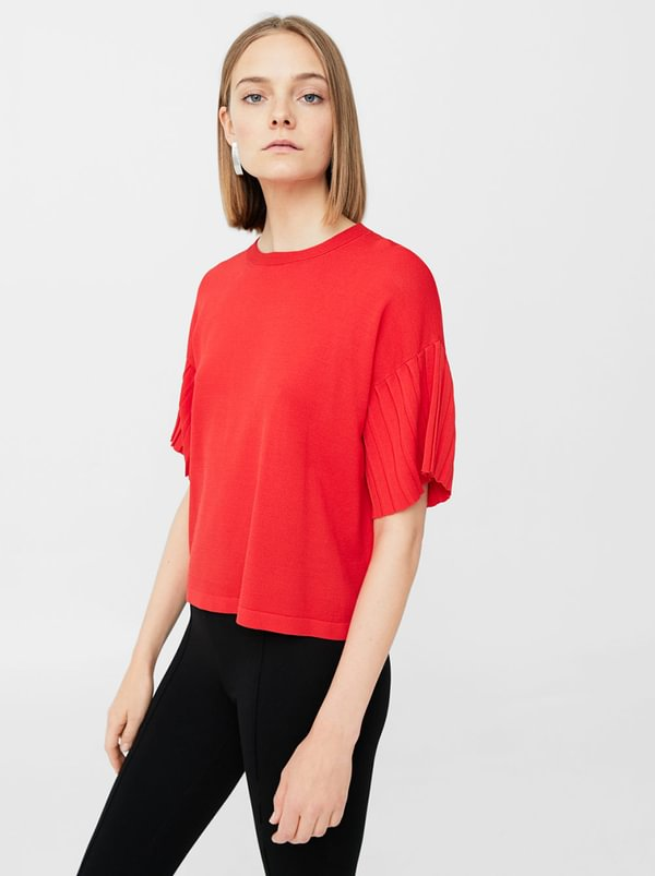 Pleated Sleeves T-shirt Red | MANGO