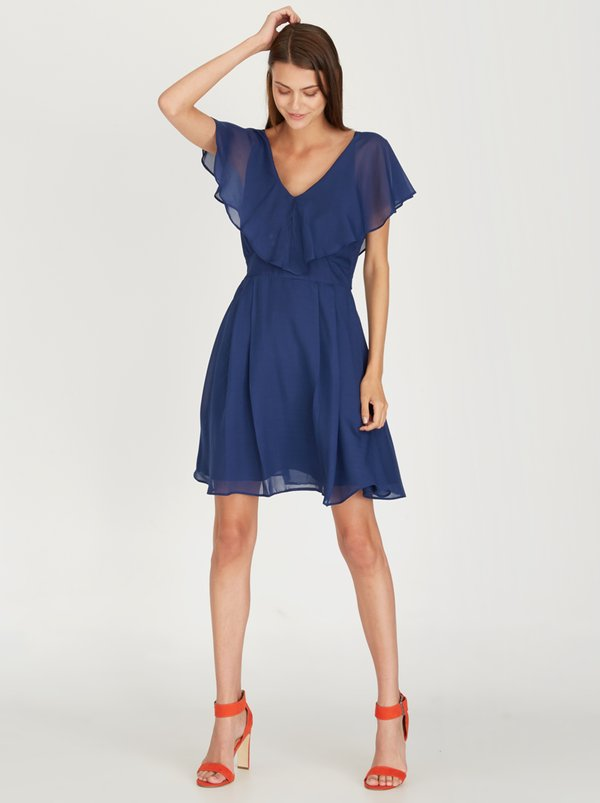 STYLE REPUBLIC Dress with Frill Detail Navy
