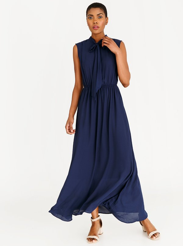 edit Maxi Dress with Kitty Bow Ties Navy