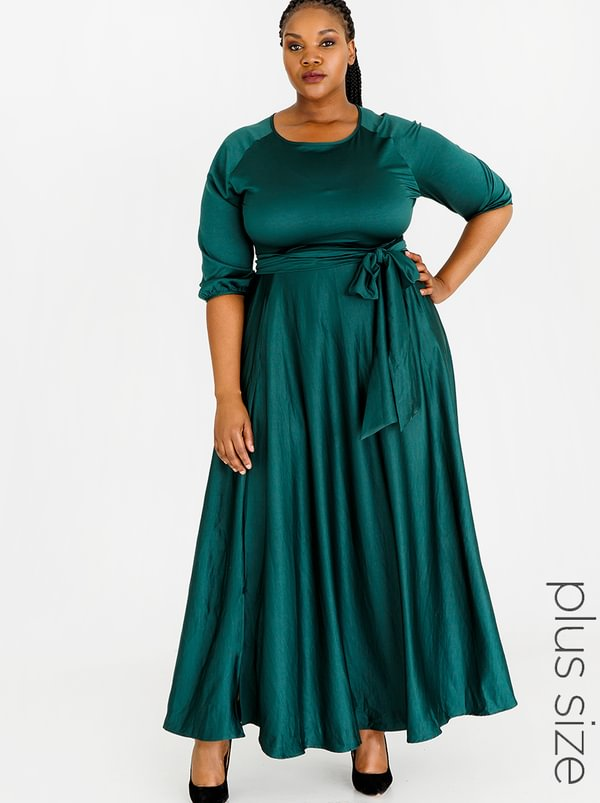AMANDA LAIRD CHERRY Katya Maxi Dress Dark Green