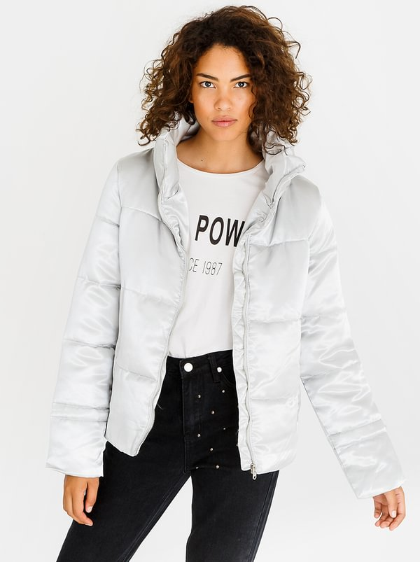 Satin Quilted Puffer Jacket Grey | Tokyo Laundry