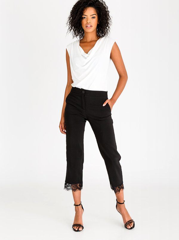 edit Ankle Grazer Pants with Lace Black