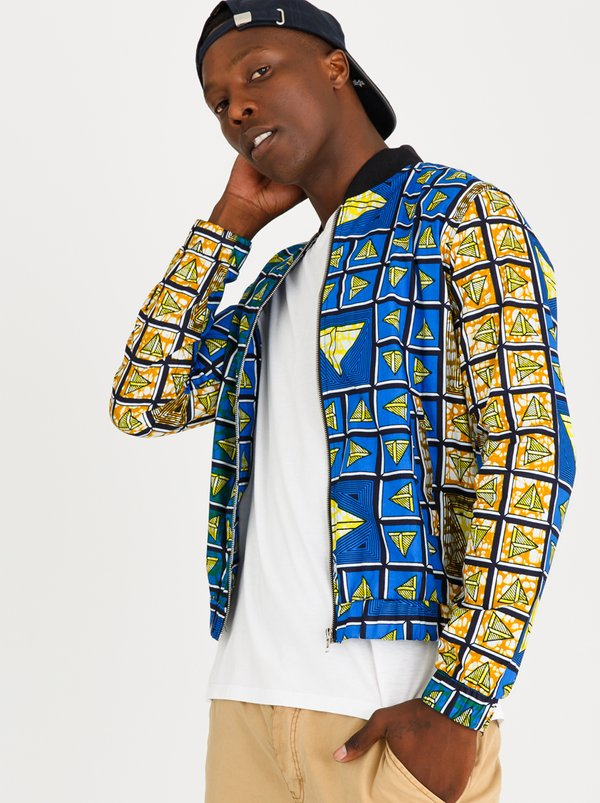 STYLE REPUBLIC Warrior Summer Bomber Blue and Yellow
