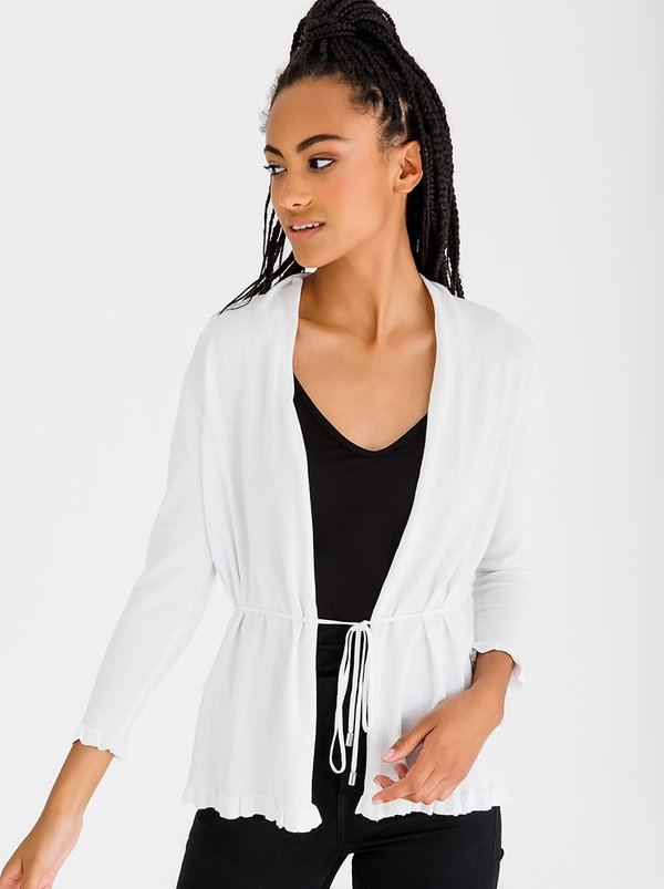 G.COUTURE Frill Edge Cardigan with Tie White