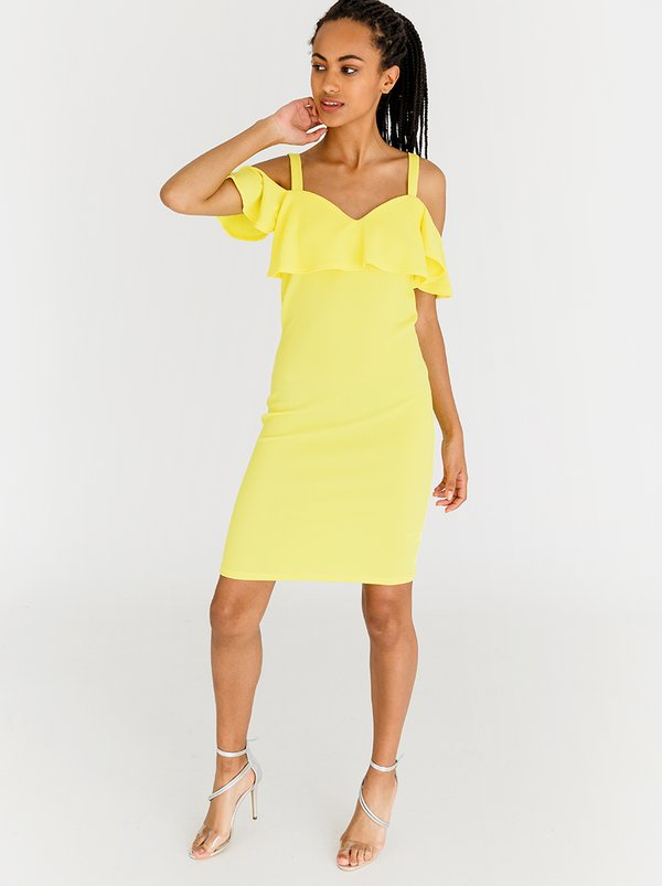 Contempo Essential Bullet Dress Yellow