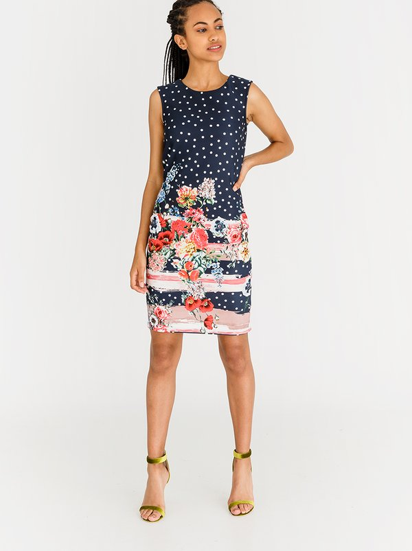 Contempo Knowing  Spot & Floral Border Print Dress Navy