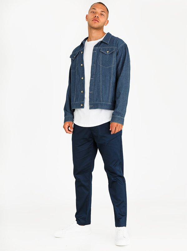 Resist Cropped Smart Chino Pants Navy