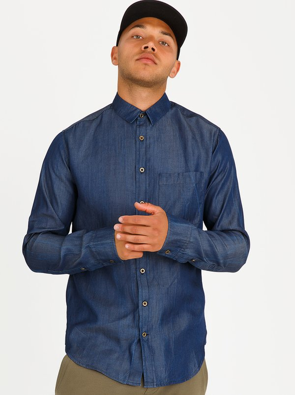 Resist Denim Shirt Dark Blue