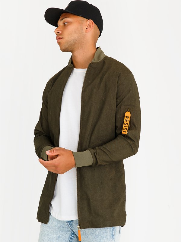 Resist Longline Bomber Jacket Green