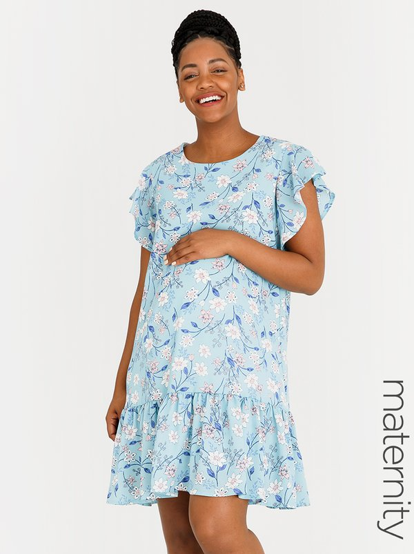 edit Maternity Chiffon Flutter Sleeve Dress Floral
