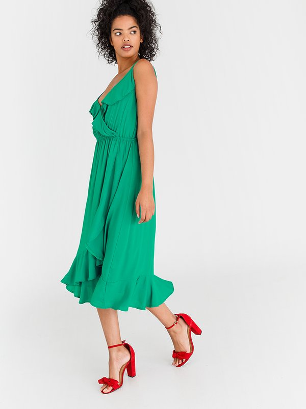 edit Ruffle Strappy Dress Green
