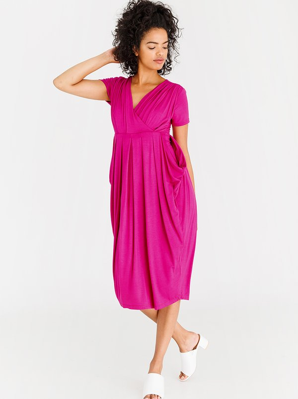 edit Short Sleeve Drape Dress Magenta