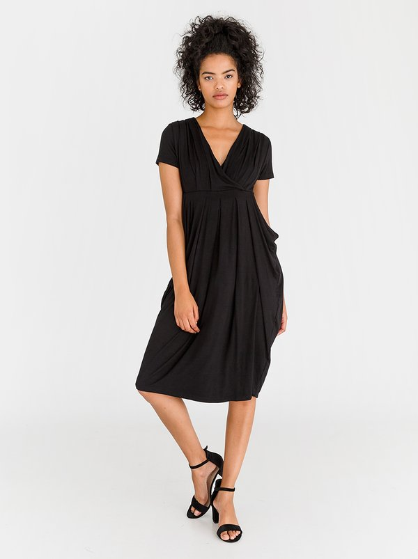 edit Short Sleeve Drape Dress Black
