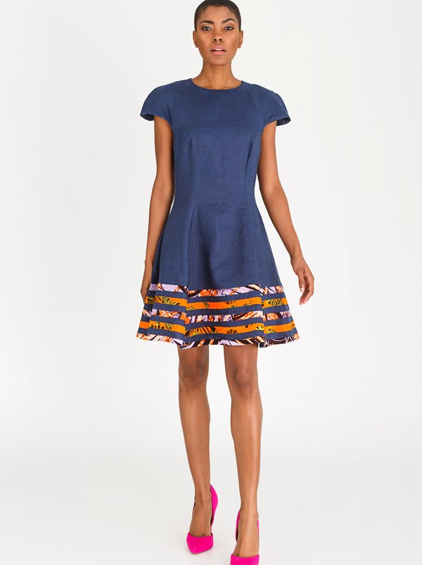DAVID by David Tlale Capped Sleeve Baby-doll Flared Dress Navy
