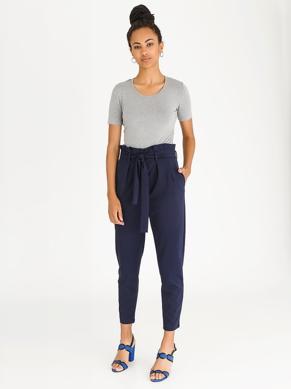 edit Paperbag High Waisted Stretch Pants Navy