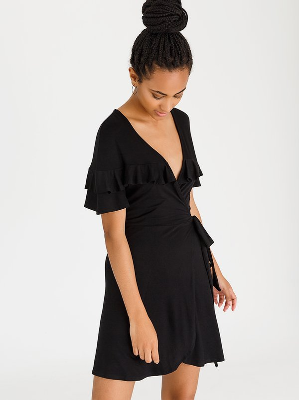 c(inch) Frill Detail Wrap Dress Black