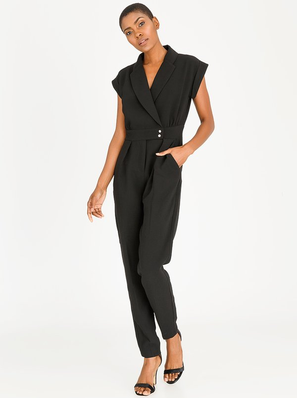 Wrap Over Collar Short Sleeve Jumpsuit Black | Closet London