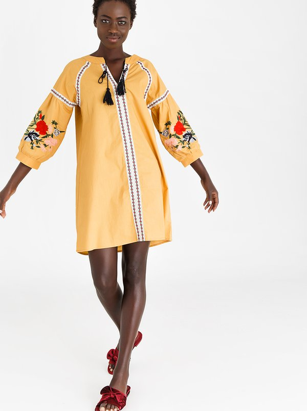 STYLE REPUBLIC Volume Sleeve Embroidered Dress Yellow