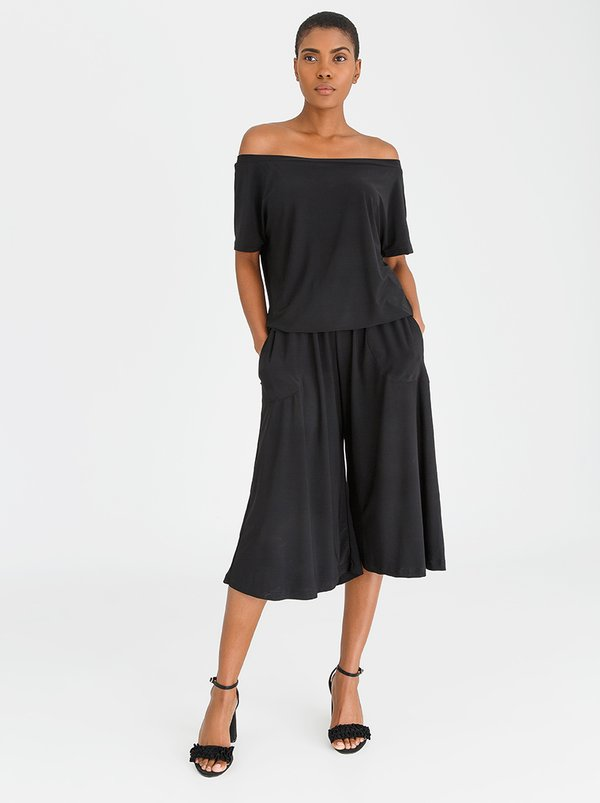 Isabel de Villiers Off Shoulder Culottes Jumpsuit Black