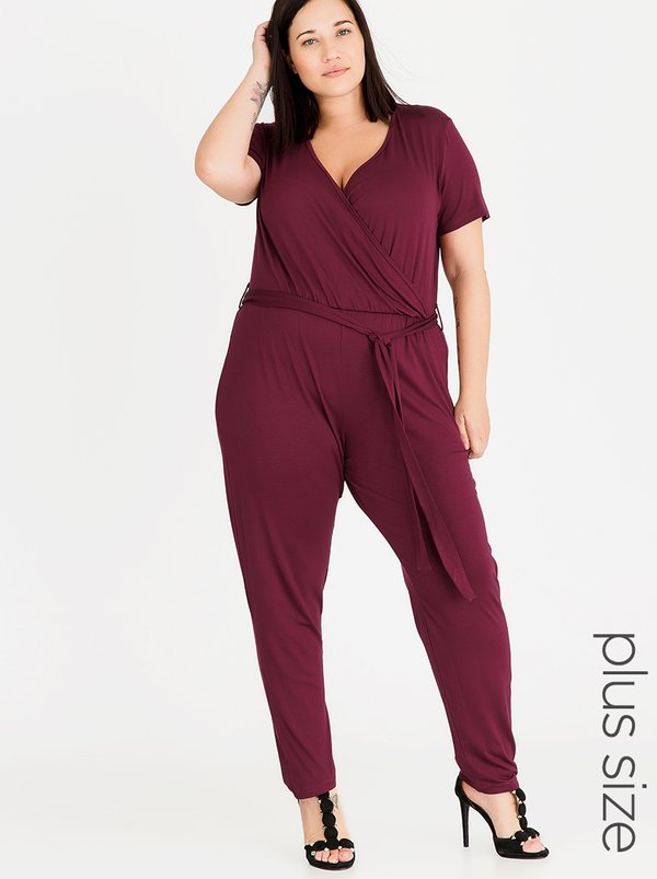 STYLE REPUBLIC PLUS Flared Sleeve Jumpsuit Dark Red
