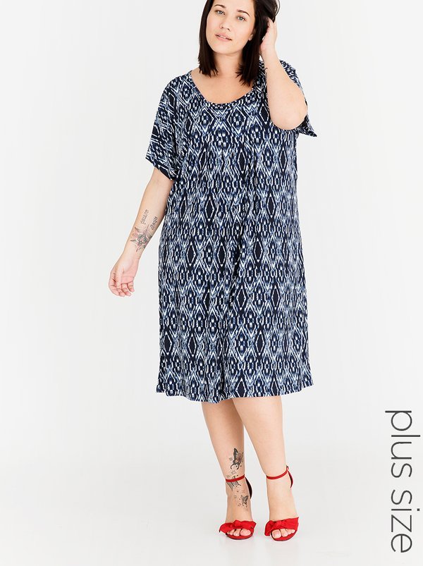 AMANDA LAIRD CHERRY Printed Mpilenhle Shift Dress Blue