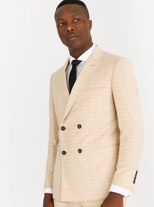 Double Breasted Slim Fit Check Blazer Beige | C Squared