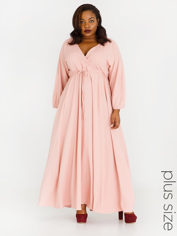 AMANDA LAIRD CHERRY Eleonora Satin-like Maxi Dress Rose