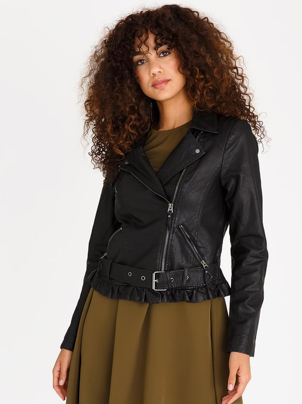 Taylor Leather-look Jacket Black | Vero Moda