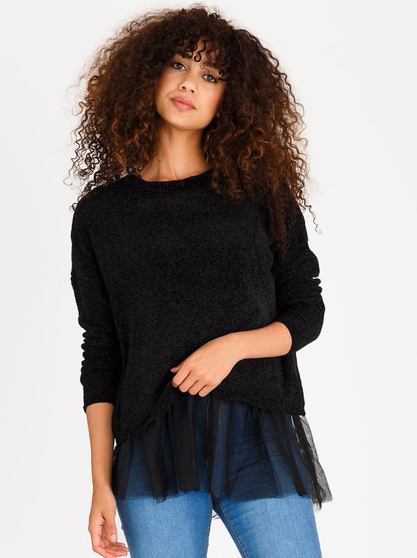 ONLY Tulle Long Sleeve Jersey Black