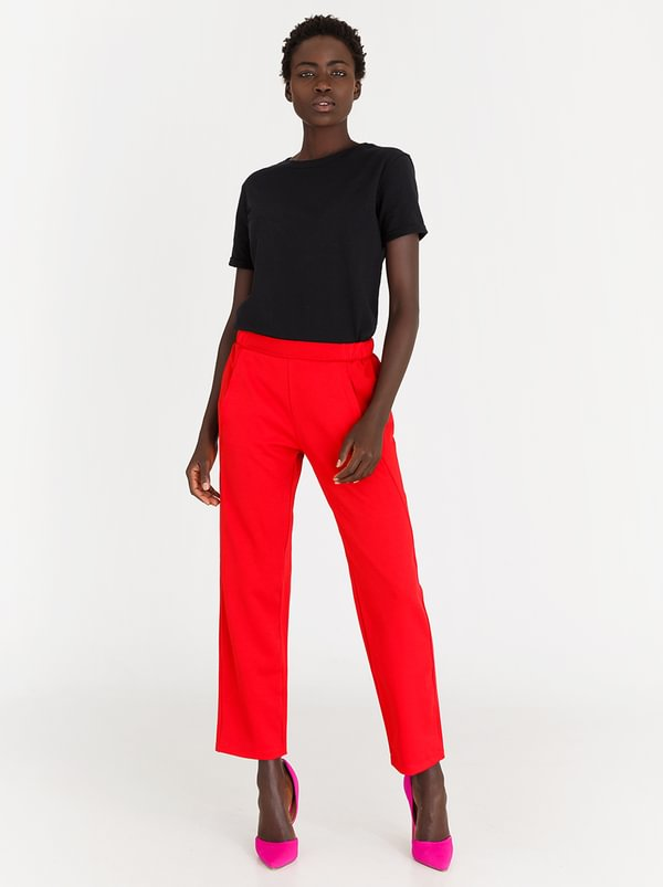 Mid-rise Trousers Red | STYLE REPUBLIC