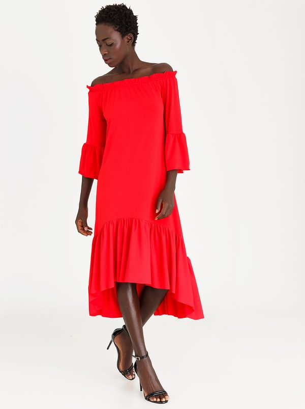 Bardot Volume Dress Red | STYLE REPUBLIC