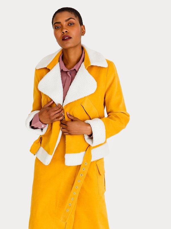 Corduroy Biker Jacket Yellow   Thebe Magugu