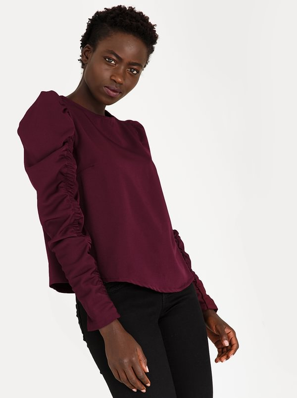Ruched Sleeve Blouse Dark Purple | STYLE REPUBLIC