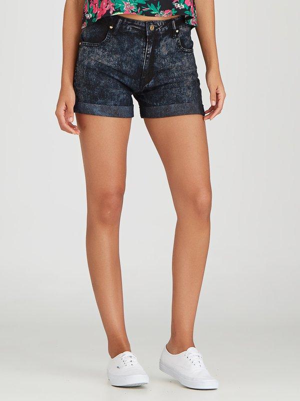 High waisted denim shorts black