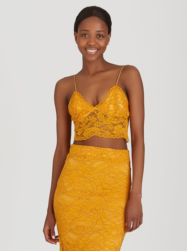 Fashion Union Pepper Lace Detail Cami Gold