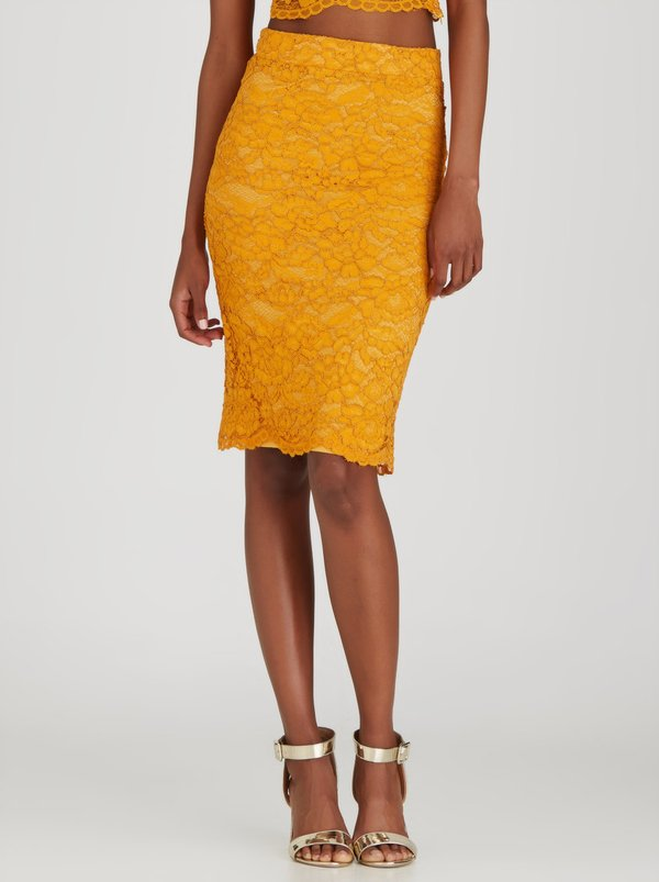 Fashion Union Ramsey Lace Pencil Skirt Gold