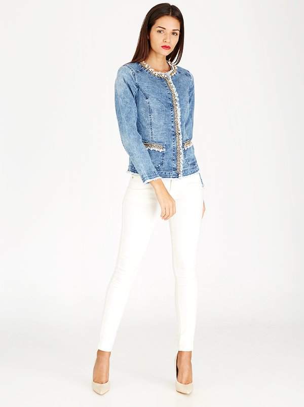 Queenspark Denim Jacket with Chain and Pearl Details Blue