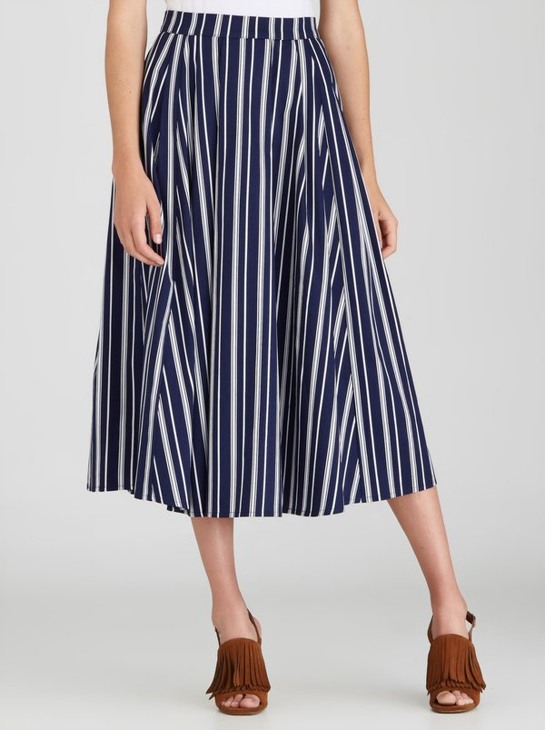 STYLE REPUBLIC Fit&Flare Skirt Blue and White