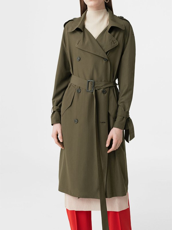 MANGO Trench Coat Khaki Green
