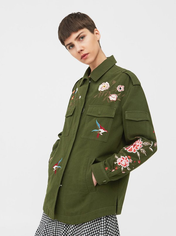 Mango floral embroidered jacket khaki green s eo
