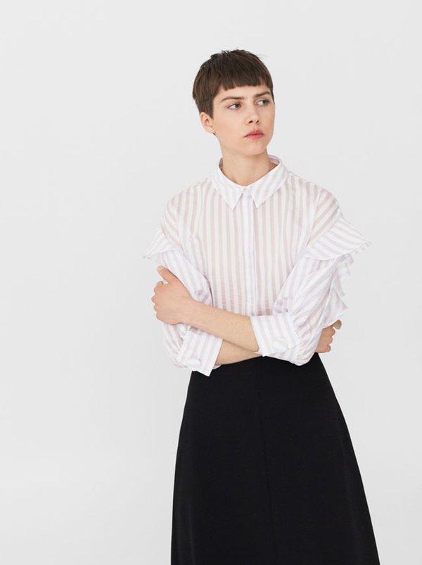 Ruffle Striped Shirt White | MANGO