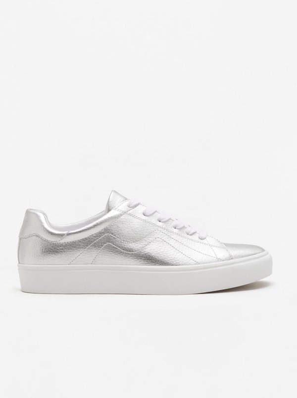 MANGO Stitch Detail Sneakers Silver