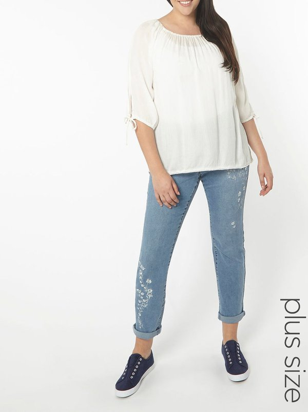 EVANS Embroidered Straight Leg Jeans Pale Blue